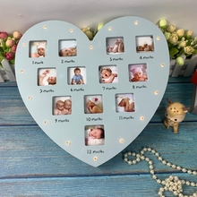 My First Year Baby Keepsake Frame with Light 0-12 Months Pictures Love Heart Photo Frame Commemorative Growth Souvenirs Kids