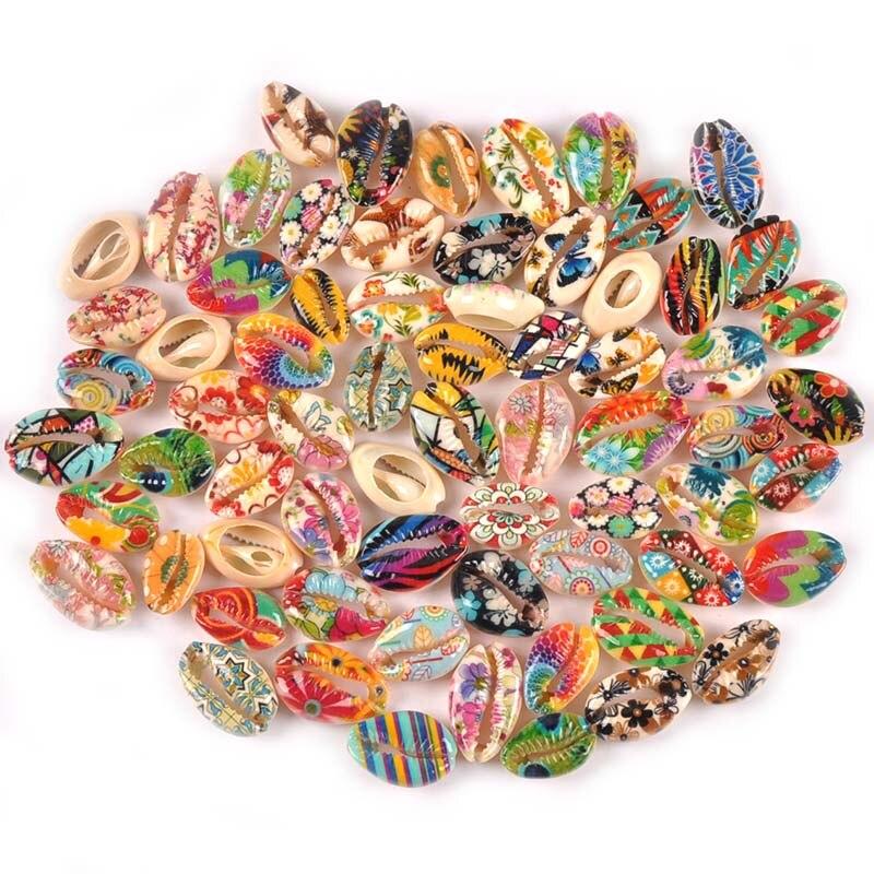 Conchas de conchas con pintura de flores para decoración del hogar, pulsera de joyería artesanal, conchas naturales de Artesanías hechas a mano, decoración de playa, 5 uds., TR0356