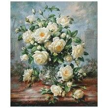 Beyaz gül çiçek çapraz dikiş paketi büyük çiçek 18ct 14ct 11ct kumaş pamuk ipliği nakış DIY el yapımı oya