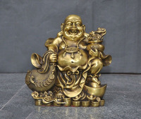 wedding decoration 11Chinese temple bronze brass wealth Yuanbao coin Maitreya Buddha Ru yi statue