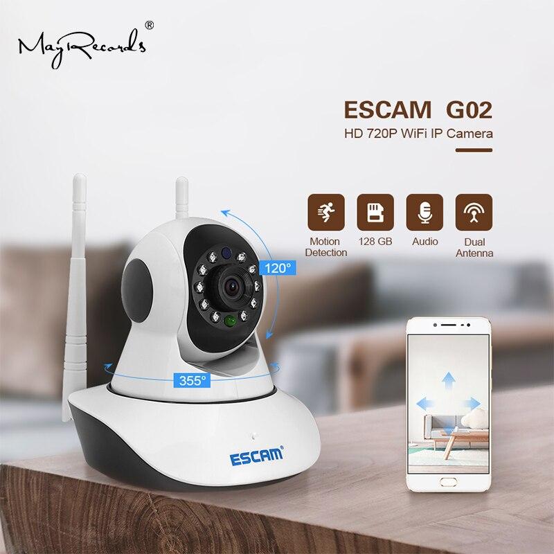 Caméra IP WIFI Escam G02 1MP HD 720P dôme intérieur infrarouge panoramique/inclinaison ir-cut deux voies parler double antenne Surveillance Onvif caméra