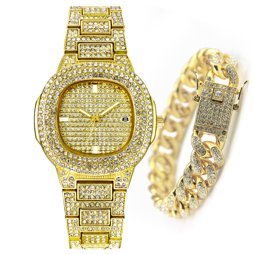 Fashion XFCS Yellow Gold Watch Women Hip Hop Bracelet Mens Quartz Watches Bling Diamond ICED Out Wristwatch Dropshipping Relogio