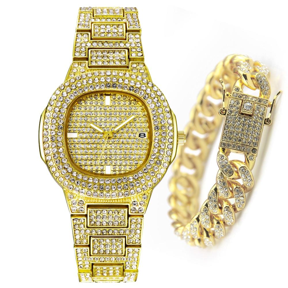Fashion XFCS Yellow Gold Watch Women Hip Hop Bracelet Mens Quartz Watches Bling Diamond ICED Out Wristwatch Dropshipping Relogio