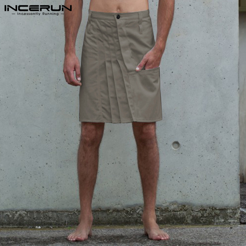 Vintage Men Skirts Pants Casual Button Solid Color Pleated Skirts Trousers Men Kilt Fashion Punk Style Pants Men S-5XL INCERUN