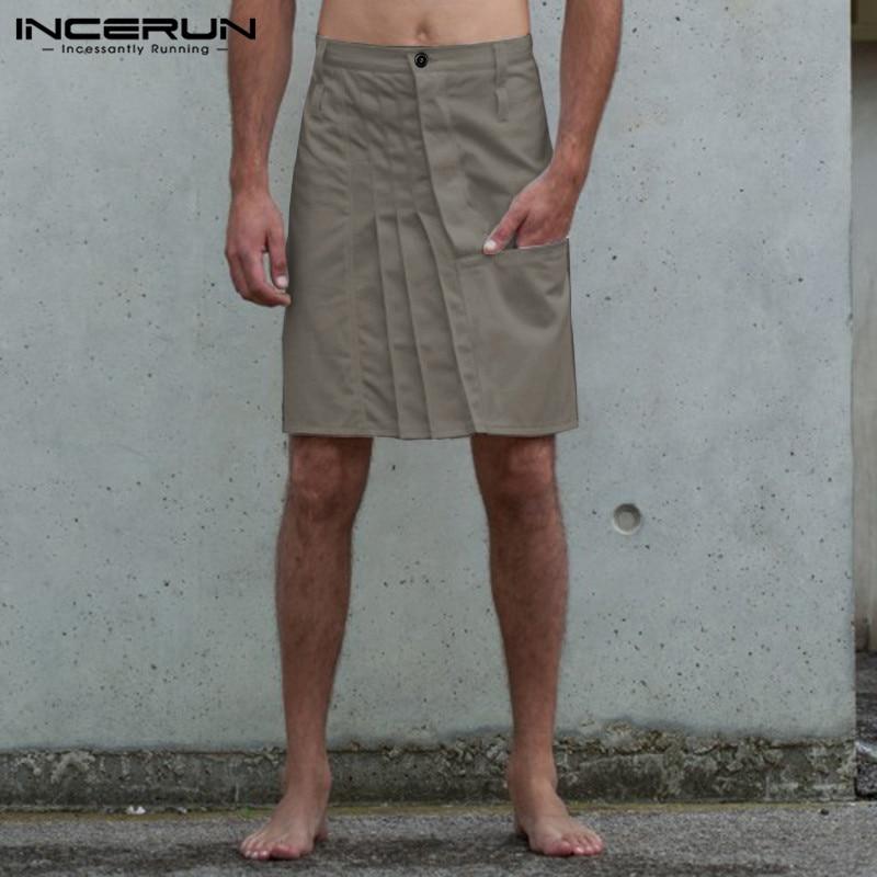 Vintage Men Skirts Pants Casual Button Solid Color Pleated Skirts Trousers Men Kilt Fashion Punk Style Pants Men S-5XL INCERUN