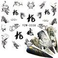 2020 Водные Наклейки для ногтей, черные наклейки в китайском стиле, дизайн дракона/орла, наклейки для ногтевого дизайна, переводки, творческие...