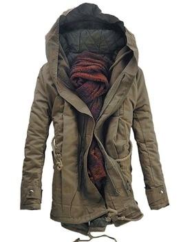 Men Slim Fit Padded Coat Warm Parka Trench Hooded Jacket Winter Outwear
