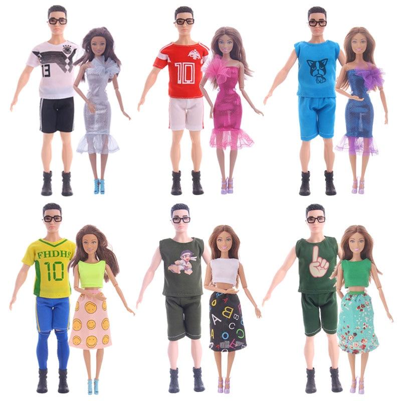 Микс 2 шт./компл., повседневная одежда, пара, Кукольное платье для Барби, аксессуары для кукол, одежда для мальчиков и девочек, игрушка для Барби, Кен, кукла, подарок|Куклы|   | АлиЭкспресс