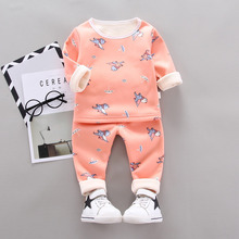 Children Increase Down Thickening Underwear Keep Warm Clothes Suit Cartoon Pattern Matching Outfits ulzzang original old 2017 street time chalaza increase down keep warm mlz