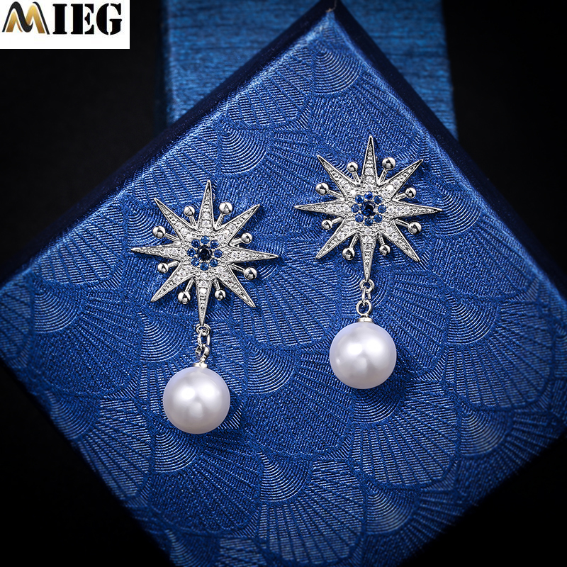 MIEG Elegant White Pearl Gold/Sliver Color Cubic Zirconia Studs Earrings For Women CZ Fashion Jewelry