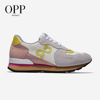 OPP Women's Shoes Cow Sude Sneakers Women's Fashion Non-slip Running Shoes Lightweight Casual Travel Lace-up Shoes