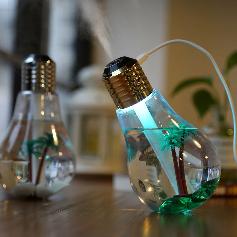 Mini Landscape Night Light Novelty USB Powered Colorful Air Humidification Bulb Shaped 153*88*88MM Environmental Friendly Light