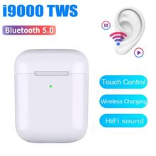 I9000 Tws 1:1 Replika Po-P Up Wireless Earphone Bluetooth 5.0 QI Pengisian Nirkabel Earphone PK W1 H1 Chip i80000 I30000 I10000(China)