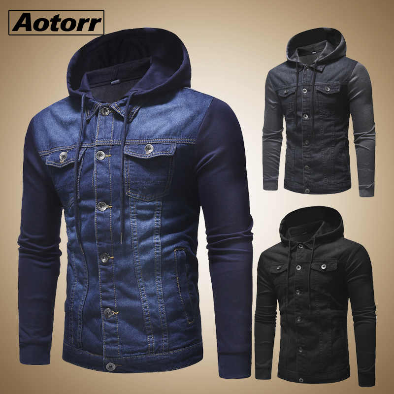 New 2019 Men Jeans Jackets Man Hooded Autumn Denim Coat for Male High Quality Fashion Classic Patchwork Mens Clothes Streetwear