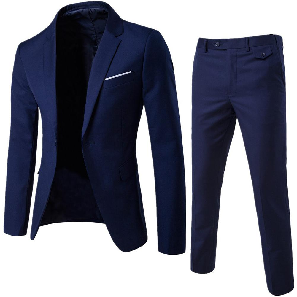2Pcs/Set Men Suit Plus Size Men Solid Color Long Sleeve Lapel Slim Button Business Suit Work Clothes Business Suits