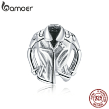 Charm-Beads Bracelet Biker-Jacket Bamoer Bangle Jewelry-Making DIY 925-Sterling-Silver