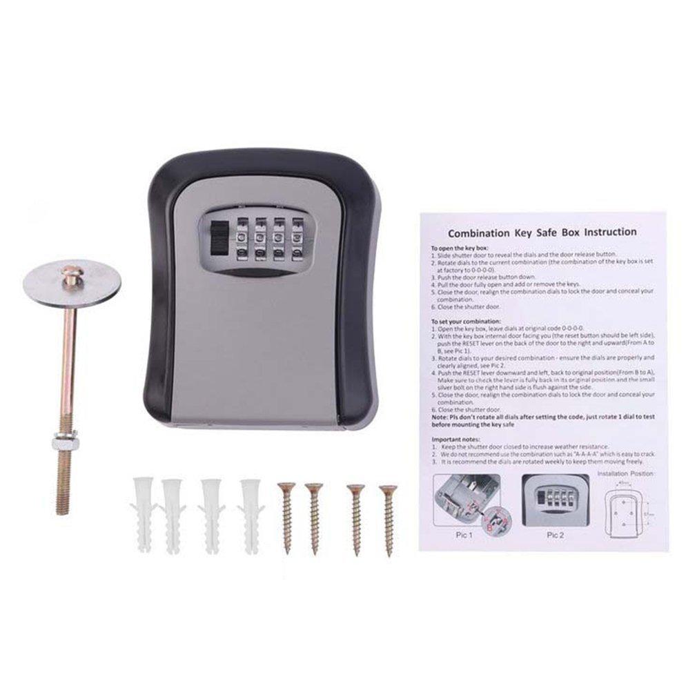 Key Safe Box 4 Digit Combination Password Keys Box Key Storage Organizer Case Wall Mounted Home Security Lock Tool Metal Key Box