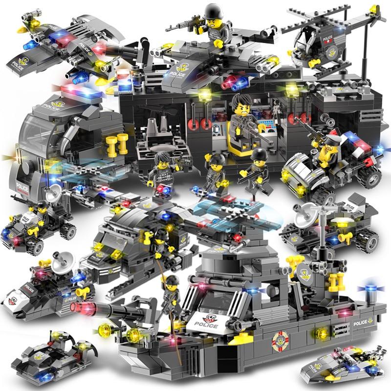 792 pièces marine sceaux militaire hélicoptère navire de guerre Police SWAT blocs de construction ensembles LegoINGLs Technic briques bricolage jouets pour les enfants
