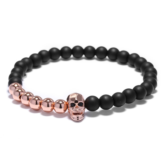 Bracelet perles tête de mort viking 3