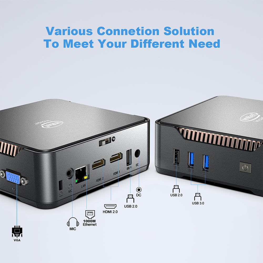 GK3V Windows 10 Mini PC Intel Gemini Lake J4125 8GB DDR4 128GB 256GB 512GB 1TB SSD Gaming PC 2.4G 5G WiFi 1000M Mini Computer 2