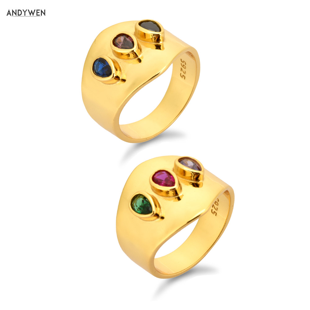 ANDYWEN 925 Sterling Silver Gold Gemstone Big Large Rings Three Zircon Red Green Brown Colorful Zircon Rock Punk Jewelry