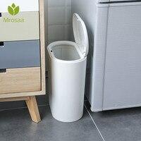 Mrosaa tipo estreito plástico cozinha lata de lixo imprensa tipo lixo bin lixo do banheiro cesta balde de lixo|Cestos de lixo| |  -