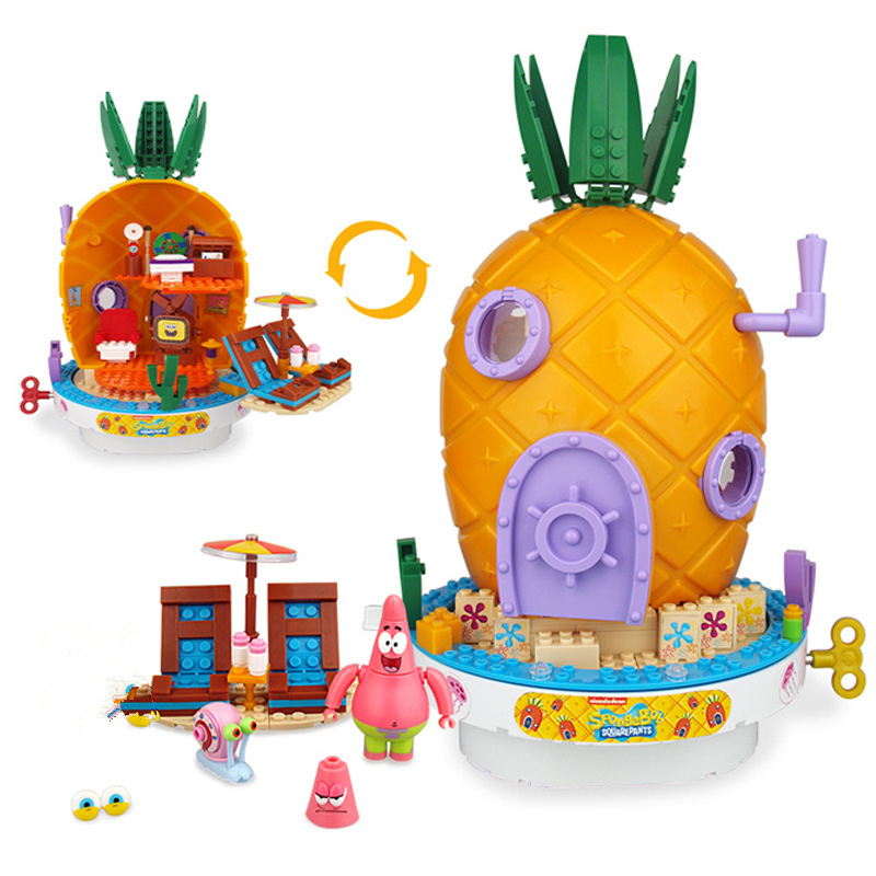 2019 SpongeBobinglys Music Pineapple House Patrick Star Building Blocks Education Figures Toys Children Kids Birthday Gifts