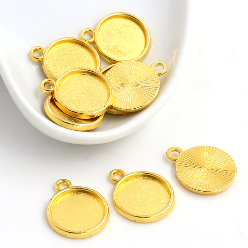 20pcs 12mm Inner Size Gold Color Plated Simple Style Cabochon Base Cameo Setting Charms Pendant (A2-46)