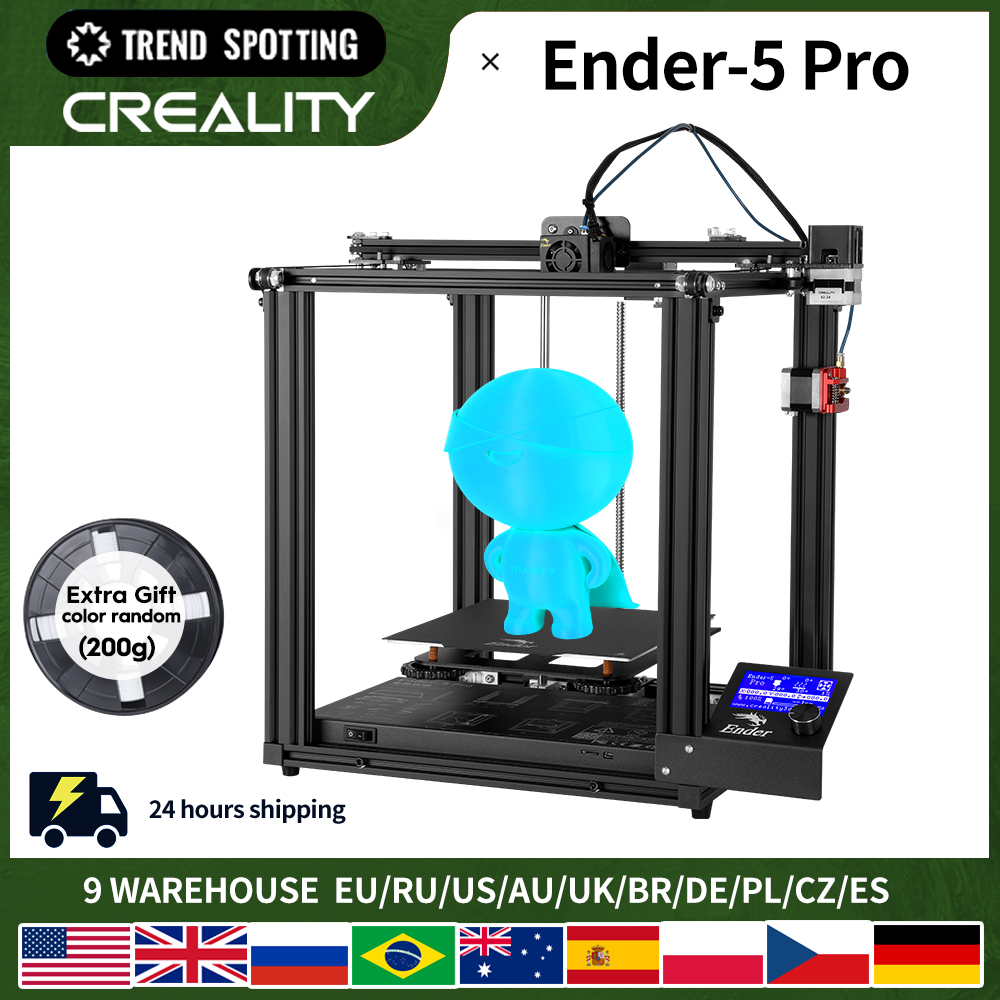 CREALITY 3D Printer Ender-5 Pro Silent Board Pre-installed Magnetic Build Plate Power off Resume Printing Enclosed Structure