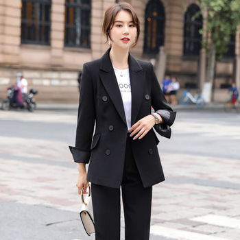 Temperament women's pants suit two-piece high quality office jacket overalls New elegant lady professional suit Slim trousers ladies black suit 2019 autumn new temperament lady business office suit jacket female fashion trouser suit two piece overalls
