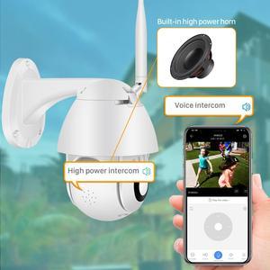 Image 3 - Caméra extérieure de Wifi PTZ de 1080P avec la sirène automatique dépistant la caméra dip de sécurité à la maison de nuage 2MP 4X caméra numérique de dôme de vitesse de Zoom