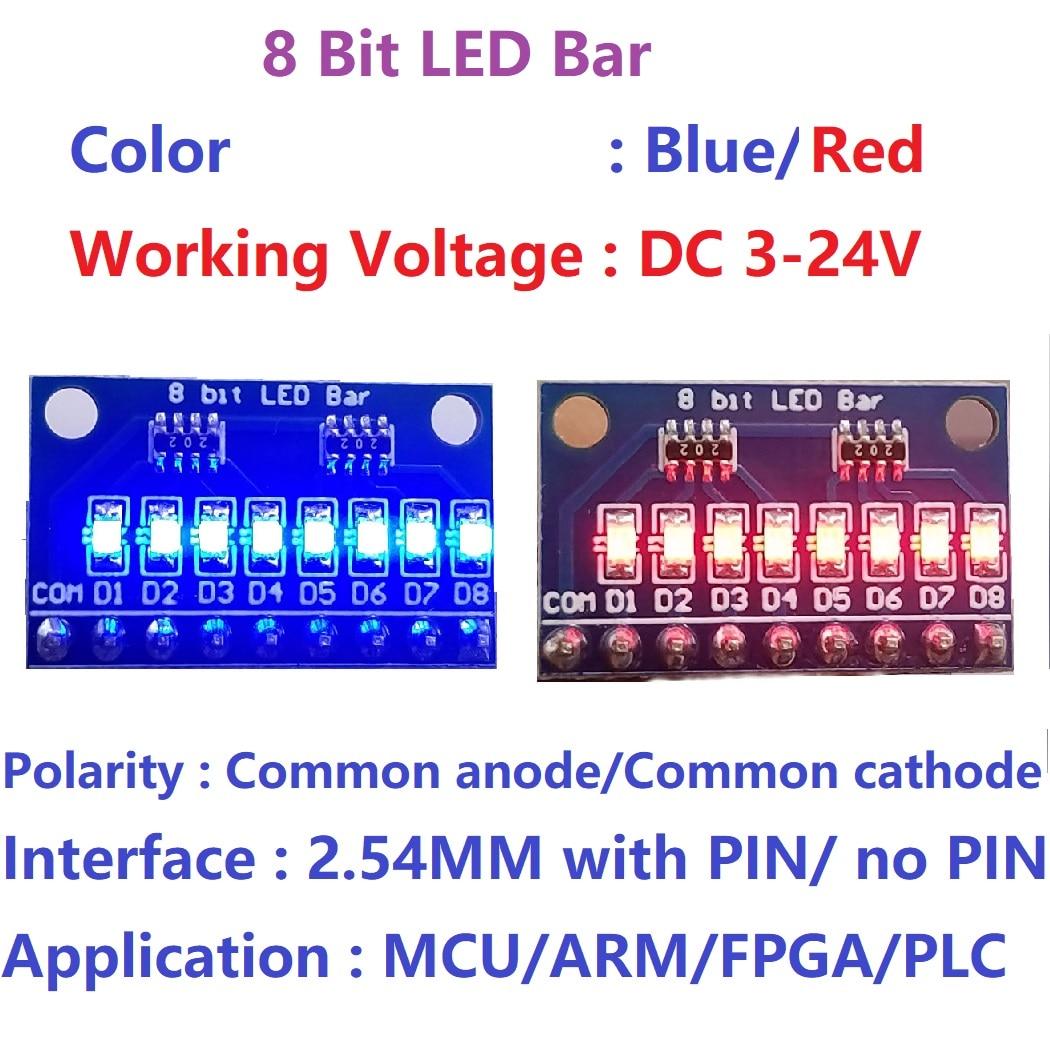 5x3,3 V 5V 8 Bit Синий/Красный общий анод/катод светодиодный индикатор модуль diy комплект для Arduino NANO UNO raspberry pi 4 nodemcu