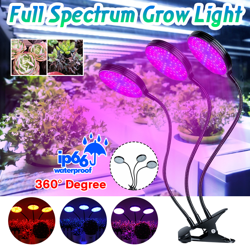 UV Plant Lamp 1/2/3 Heads Spectrum LED Grow Light Fito Lamp For Indoor Seedlings Flower Grow Tent Box Hydroponic Led Phyto Lamp