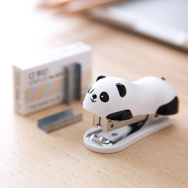 Mini Pandas Stapler Set Cartoon Office School Supplies Staionery Paper Clip Binding Binder Book Sewer Pandas Small Stapler
