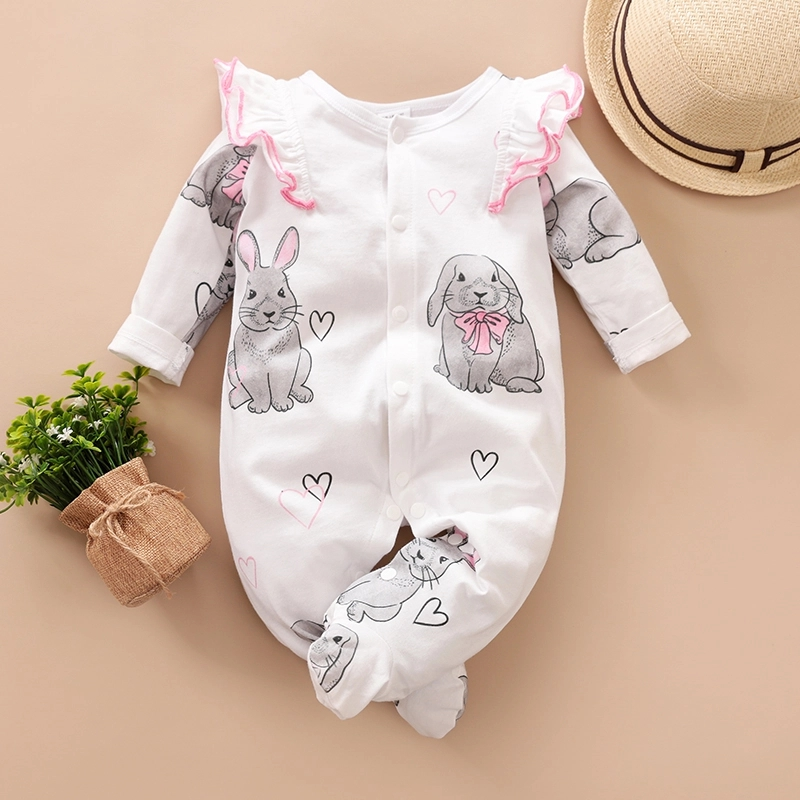 PatPat 2020 New Summer And Spring Baby Girl Flutter-sleeve  Rabbit Print Long-sleeve Jumpsuit Footies