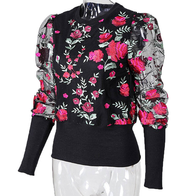 Sexy Women Spring Fall Embroidery Floral Shirt Blouses Tops OL Elegant Mesh See Through Long Sleeve Shirt Patchwork Outwear 4