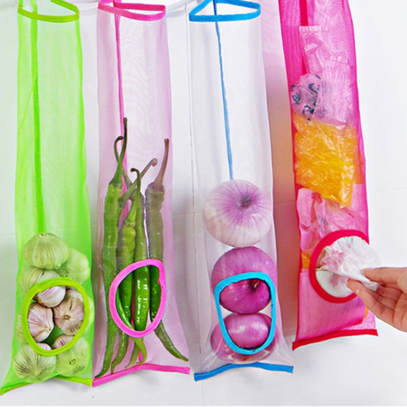 Kitchen Garbage Trash Storage Bag Onion Holder Vegetable Potato Hanging Mesh Fruit Ginger Organizer Container Garlic Food Saver
