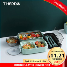 Therdo – boîte à déjeuner à Double niveau en acier inoxydable, Bento japonais, bol à soupe de Style Simple pour enfants, vaisselle Portable, tasse à lait