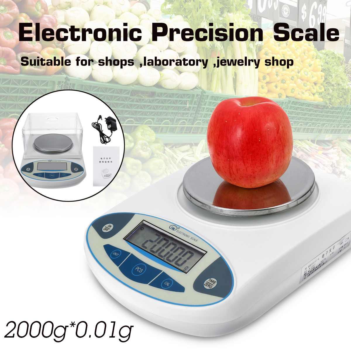 2000x0.01g Balance numérique LCD laboratoire Balance analytique électronique précision bijoux échelle Mini Portable Balance de poids 2kg