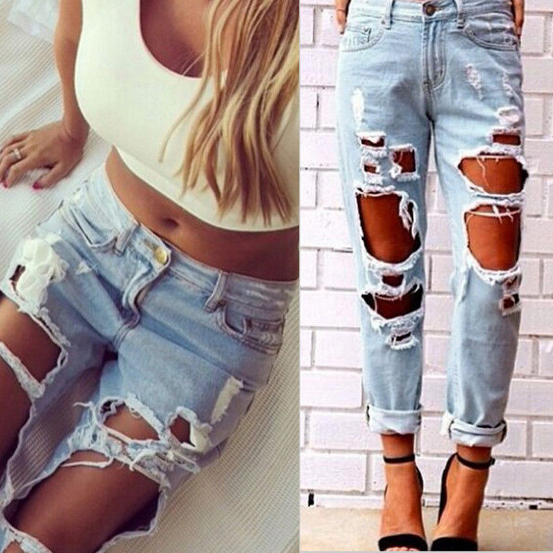 Sexy Blue Jeans Women Ladies Summer High Waist Destroyed Ripped Distressed Slim Cool Denim Pants Boyfriend Trousers