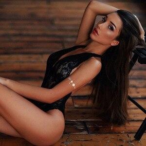 Женское прозрачное кружевное сексуальное боди, женское белье, одежда для сна, Сетчатое кружевное Прозрачное нижнее белье с цветочным рисунком, эротический сексуальный костюм