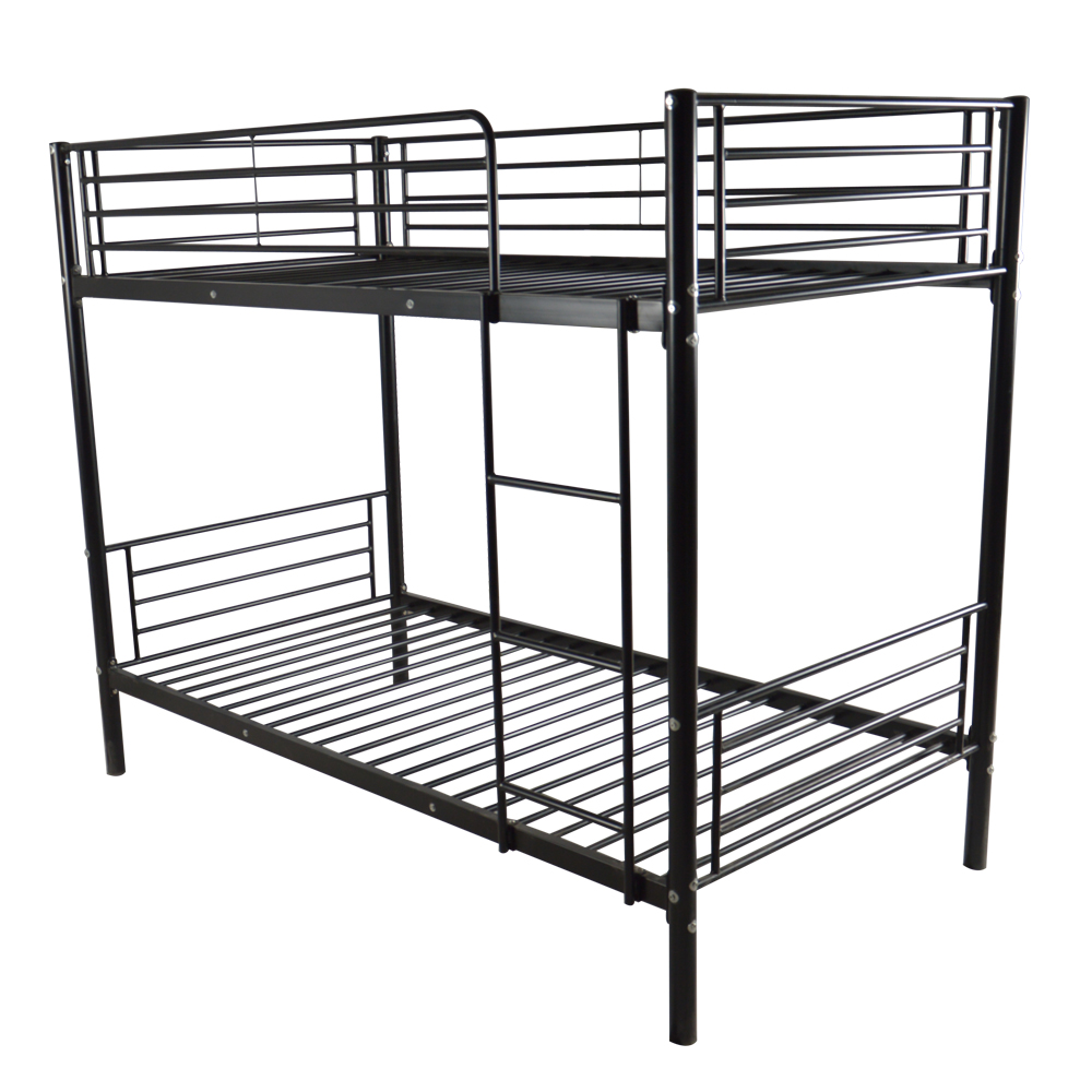 Iron Bed Bunk Bed With Ladder For Kids Twin Size Black Bed Frame  Bedroom Furniture