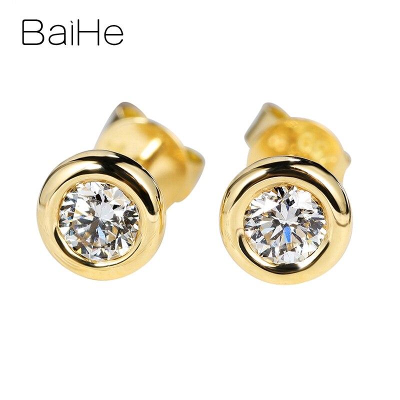 BAIHE solide 14K or jaune Total 0.20ct H/SI diamants naturels femmes fiançailles homme personnalisé diamant taille ronde boucles d'oreilles