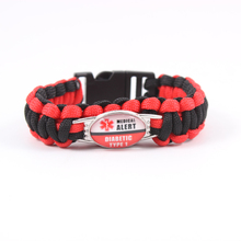 Medical Alert Paracord Bracelet 550 Rope Escape Bracelet For Men Women Kids Child Blood Thinner Type 1 Diabetes Bangles Jewelry