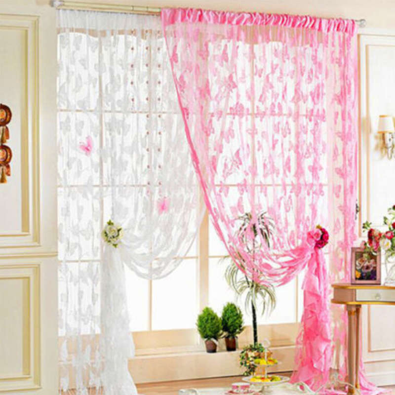 Solid Butterfly Yarn Curtain Wedding Party Lace Romantic Tulle For Living Room Kitchen Modern Window Treatments Voile Curtain