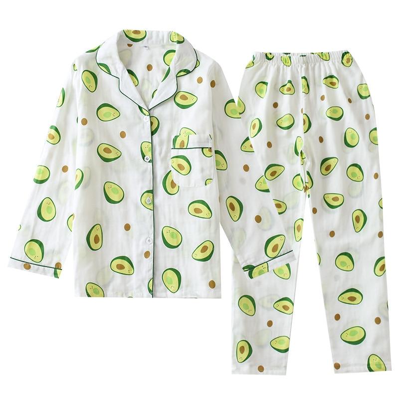 Ladies Comfortable Pajamas Set 100% Gauze Cotton Cartoon Avocado Printed Female Sleepwear 2Pcs Turn-down Neck Women Shirt+Pants