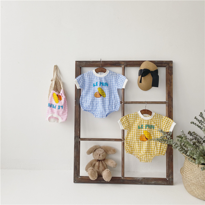 7plus1 Kids Summer Short Sleeve Clothing Blue Plaid Boy Lovely Yellow Jumpsuits Pink Girls Rompers For 4 5 7 8 10 11 13 14 Month