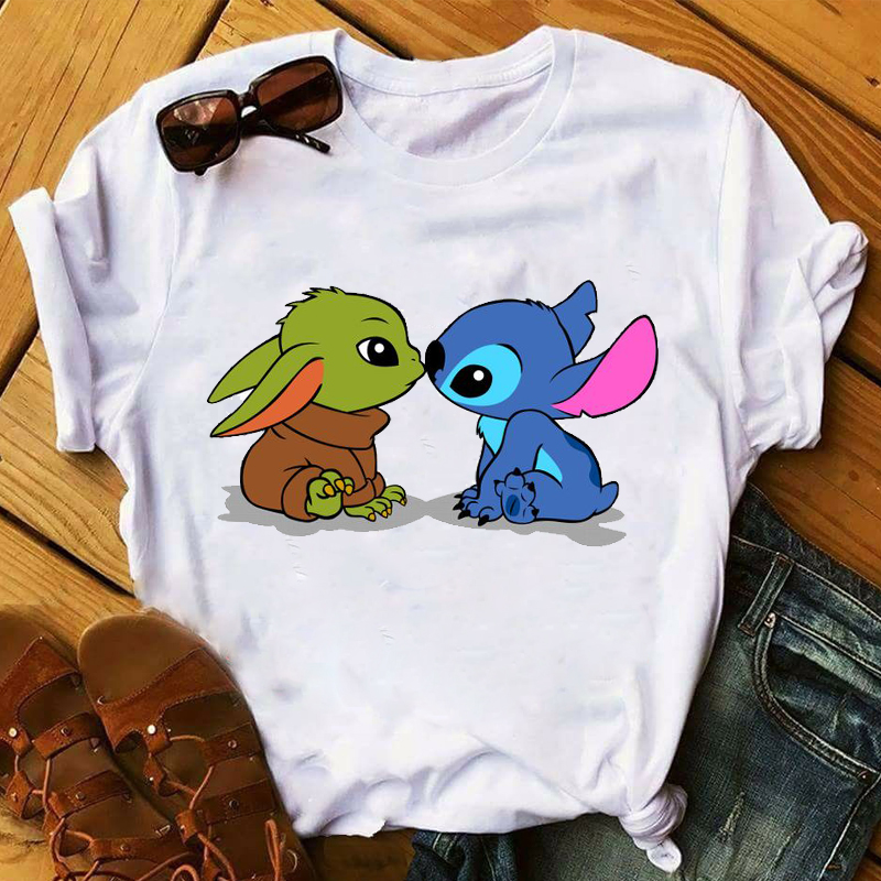 Women 2020 Cartoon Baby Yoda Star Wars Kiss Love Stitch Tops Clothes  Graphic Tshirts Shirt Tee Top T Female Womens T-Shirt