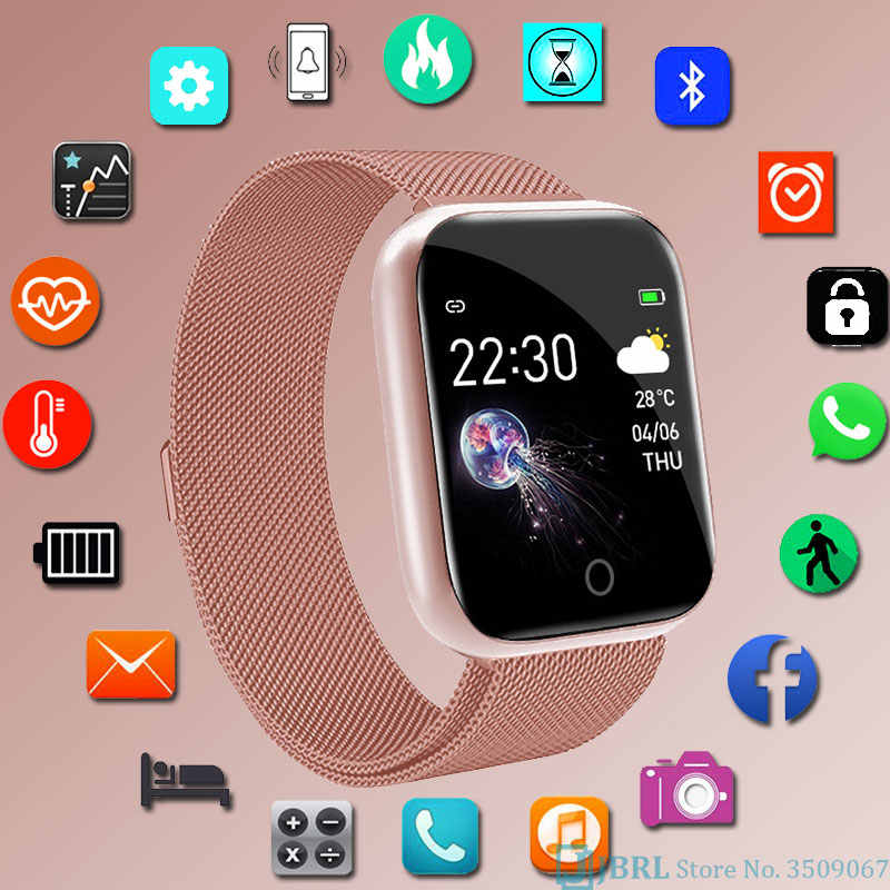 패션 스테인레스 스틸 스마트 시계 여자 남자 전자 스포츠 손목 시계 안 드 로이드 IOS 광장 Smartwatch 스마트 시계 시간