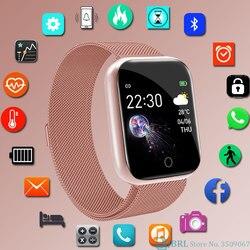 Moda paslanmaz çelik akıllı saat kadın erkek elektronik spor kol saati Android IOS için kare Smartwatch akıllı saat saatleri